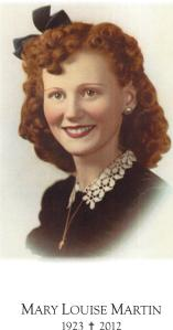 Mary Louise (Calley) Martin, Age 17  This was her engagement picture.1923-2012