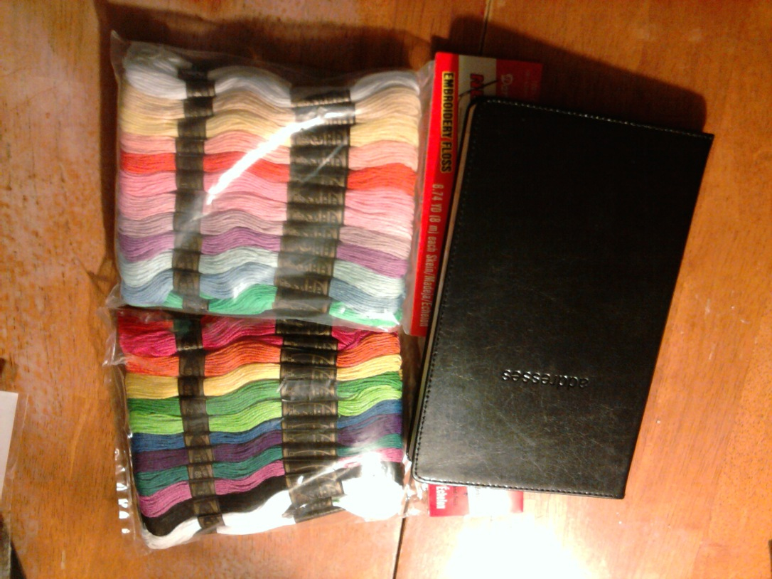 Hardware Store Embroidery floss and an address book that looks disturbingly like a bible.  :)