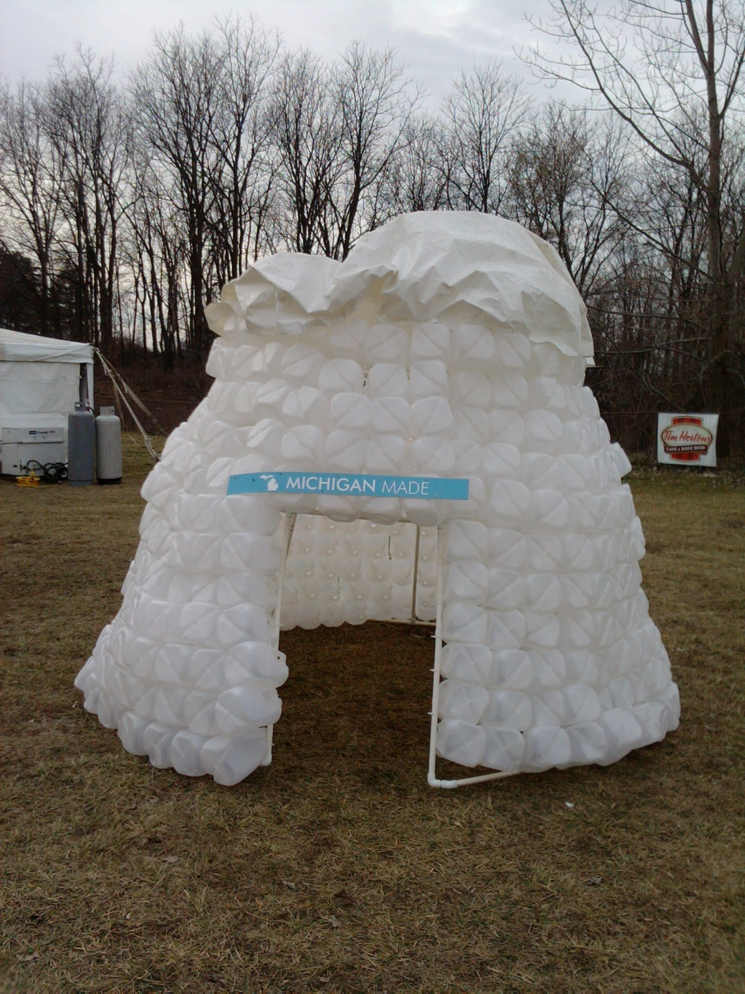 There was supposed to be an igloo village.   No snow, so this one's made out of empty milk jugs.  Ummm...yeah.  You've got to appreciate the creativity that went into making it.  :)