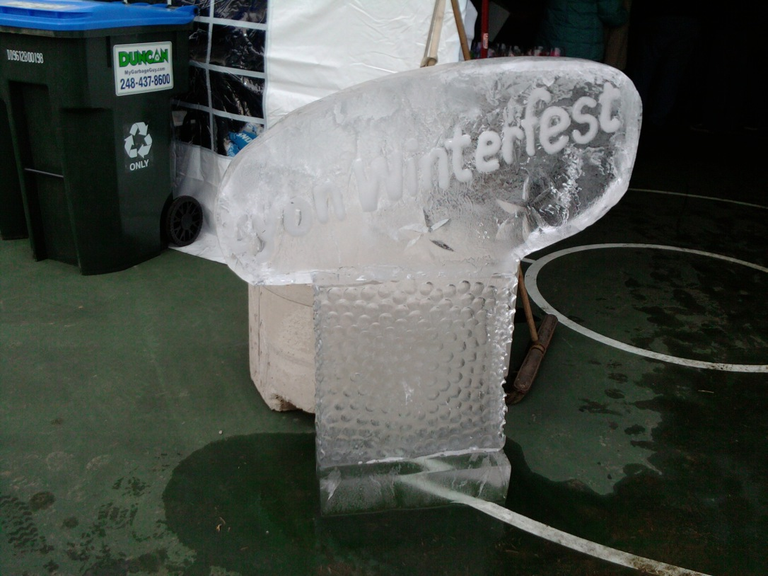 Winterfest Ice Sculpture.  Yes.  This is the only one they had, and he was melting!  Poor little fella!  :)