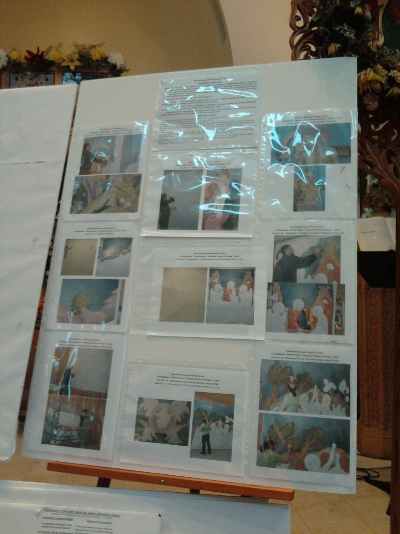 Pics from the Iconographer in Greece.  He's painting HUGE canvases that will later be installed here in Michigan.