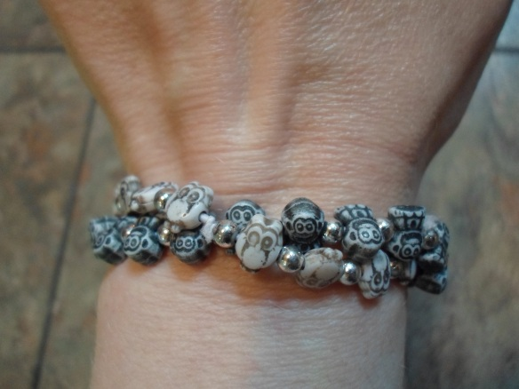 So far, I only have the monkey and owl bracelets, but I've had my eye on the elephants. There's always next fill up! And yes, my kiddo has reminded me repeatedly that grown women probably shouldn't wear jewelry purchased at the gas station. *SIGH!*